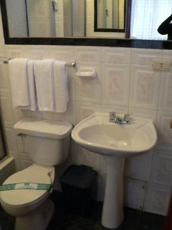 Hostal El Santuario: Bathroom small but clean and adequate