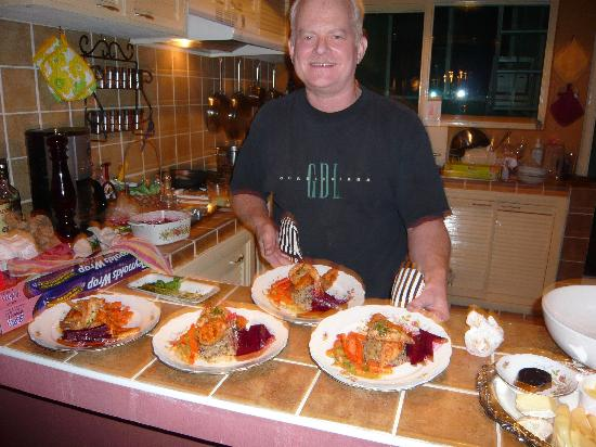 Dickinson Guest House: James prepared this amazing meal, served and cleaned up while we had all the fun