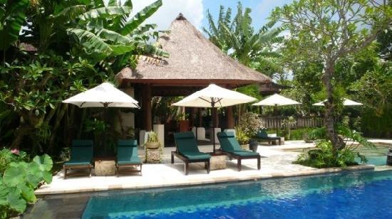 Bebek Tepi Sawah Villas & Spa: The poolside lounge area