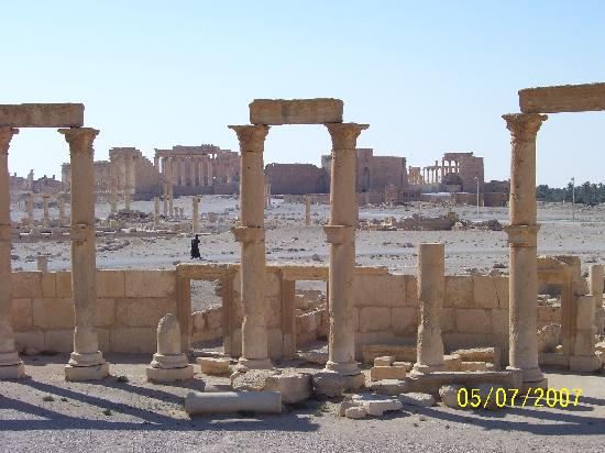 Roman Theatre of Palmyra: View over Palmyra (temple in background)