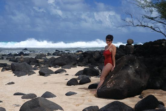 The Palmwood: Lava rocks on beach at Moloa'a Bay