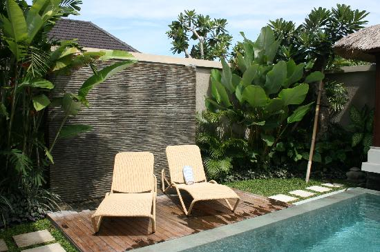 Disini Luxury Spa Villas: Water feature with loungers