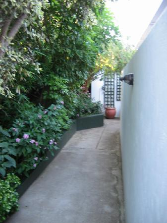Carslogie House: walkway to rooms