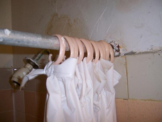 Empress Hotel: repaired shower curtain, plaster falling, mole