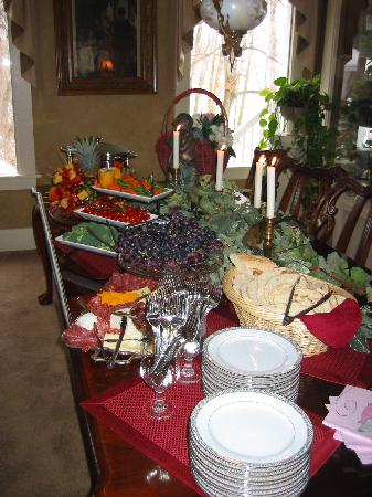 Warm Springs Inn & Winery: food set-up for indoor party