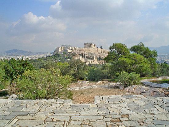 Atene, Grecia: Vista de la Acrópolis (y de la ciudad entera) desde el Philopapus