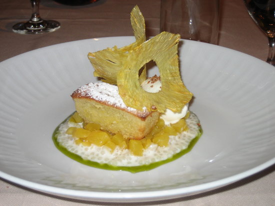 SW Steakhouse: Pineapple Poundcake, Lemongrass Sorbet, Lime Reduction