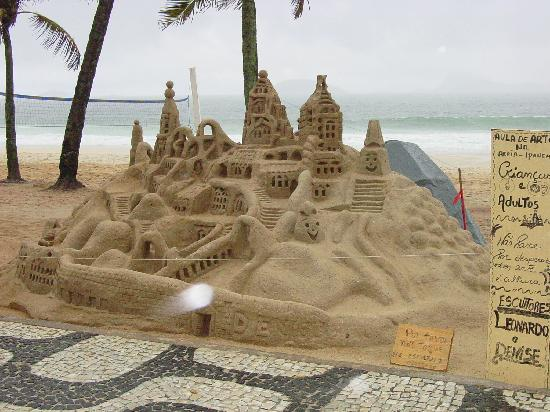 Belmond Copacabana Palace: Hugh sand castle in Ipanema in front of Caesar Park hotel
