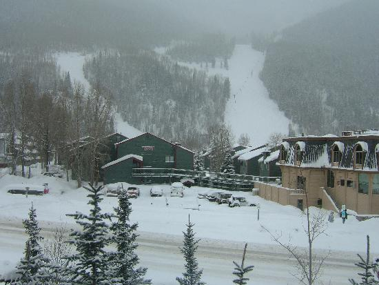 View from the balcony of Room 203 of the Hotel Telluride on a snowy day