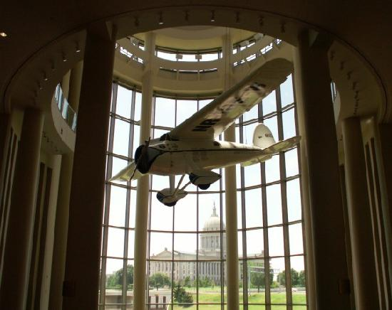 Oklahoma History Center: replica of the Winnie May, the first plane to fly all the way around the world