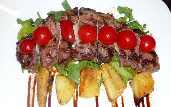 E Tutto Qua: Tagliata di Manzo ~ Grilled New York steak topped with cherry tomatoes,