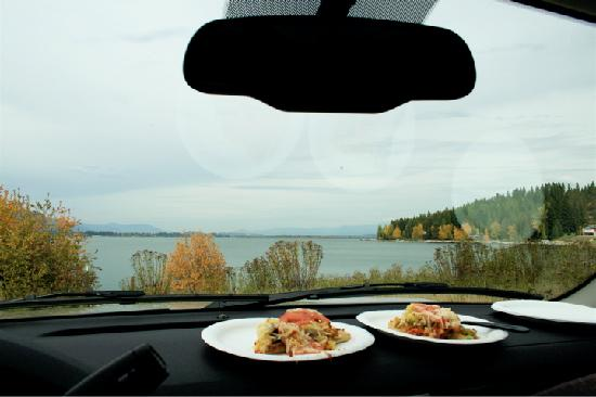 Yummy Second Avenue Pizza picnic on shore of Lake Pend Oreille