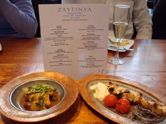 Zaytinya Restaurant Week Menu