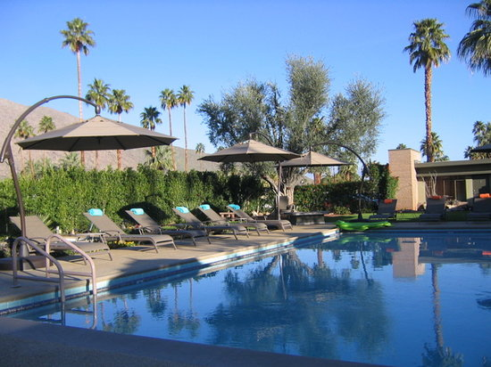 Desert Riviera Hotel: New pool furniture & umbrellas too!