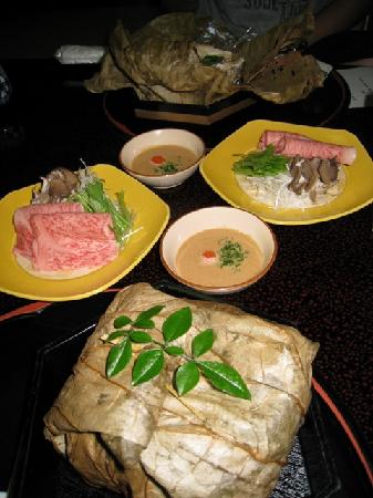 Inn Seiryuso: the parcel wrapped in lotus leaf is soup in a conch shell