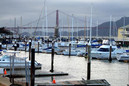 Marina Green: View of Golden Gate with SF Marina Yacht Harbor Docks.