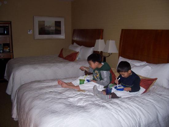 Eating dinner in bedPicture of Hilton Garden Inn Monterey