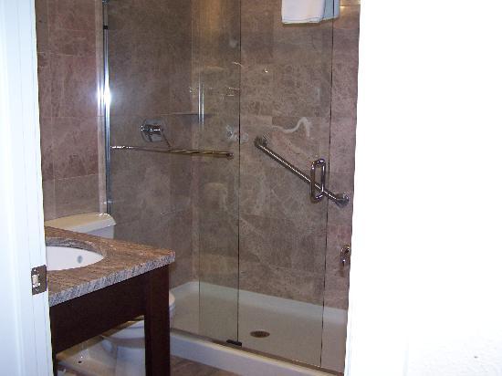 Holiday Inn Hyannis: marble bathroom..nice!
