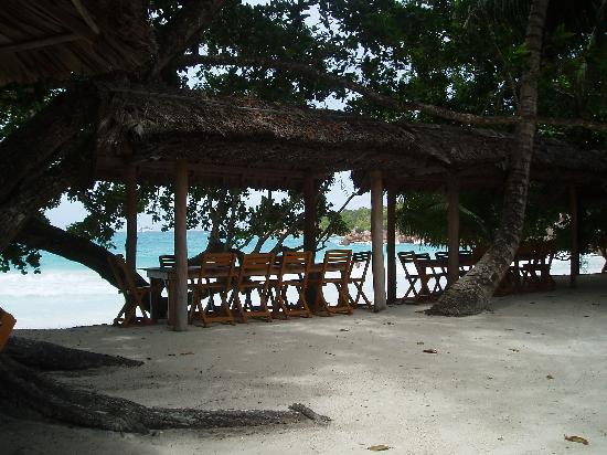 Anse Lazio: View over the beach from the restaurant