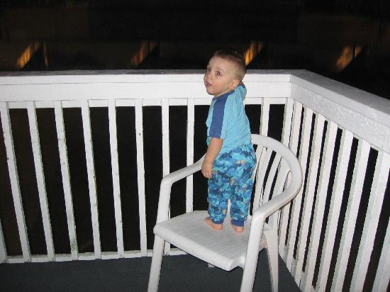 Blue Whale Resort: The Balcony is where my Grandson spent most of his time inside, looking at he