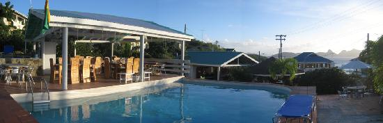 Dennis' Hideaway view of pool and restaurant