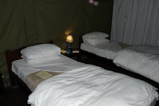 The tent prepared for night
