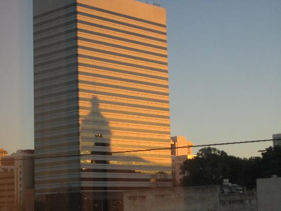 Hilton Columbia Center: View of Columbia's tallest building -- with a reflection of the State House.