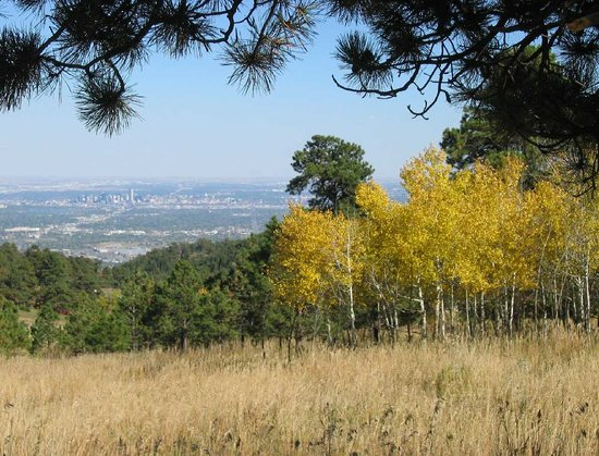 Golden, CO: Denver skytline from meadow loop trail at Lookout Mountain Nature Center