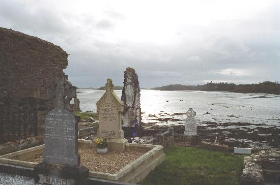 Donegal Town, Ireland: Graveyard at end of Quay St Pier looking onto Donegal Bay