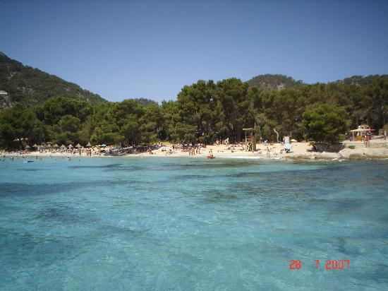 view of formentor beach from boat