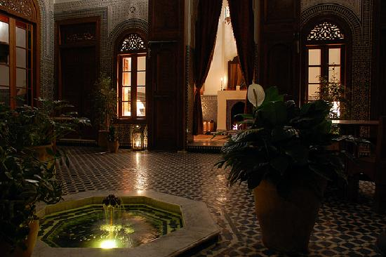 Dar Roumana Atrium, with a roaring fire for cold winter nights