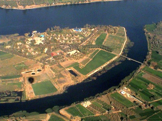 Luxor, Egypt: Jolie Ville, Crocodile Island from balloon