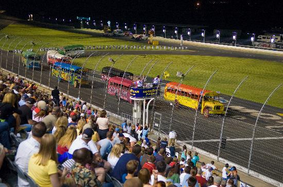 School bus race at summer shootout picture of charlotte for Race at charlotte motor speedway