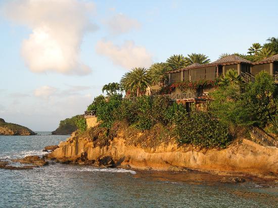 Galley Bay Resort: View towards Armani's villa