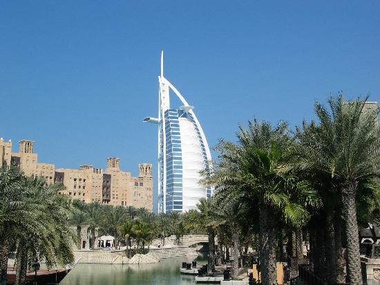 Jumeirah Mina A'Salam : Front of hotel, canal and view of Burj