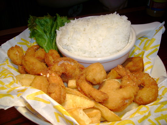 Red Robin Gourmet Burgers: Shrimp Platter with rice, instead of firies