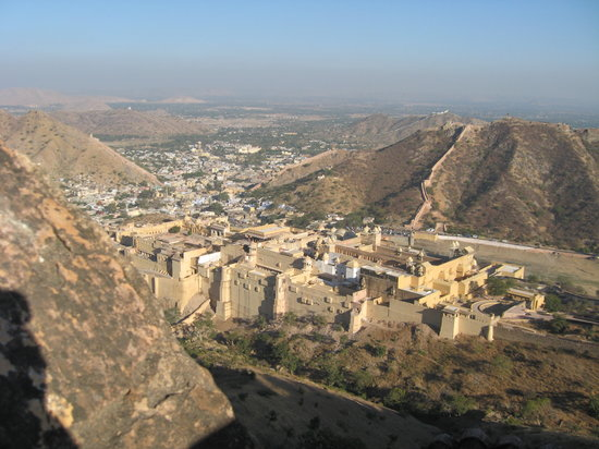 Jaipur, India: View from the Fort, featuring the Palace and Desert Hills