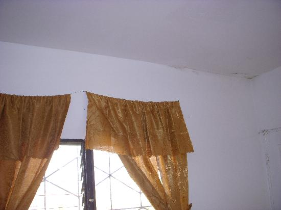 Bachelor Inn: curtains strung on wire