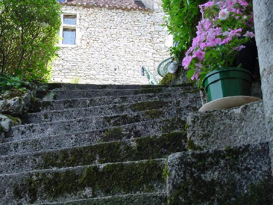 Saint-Cirq Lapopie, France : steps down to or cottage