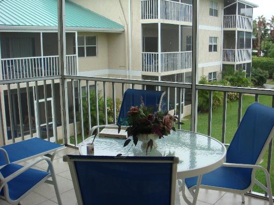 Plantation Village Beach Resort: our screened in condo balcony!  loved it.