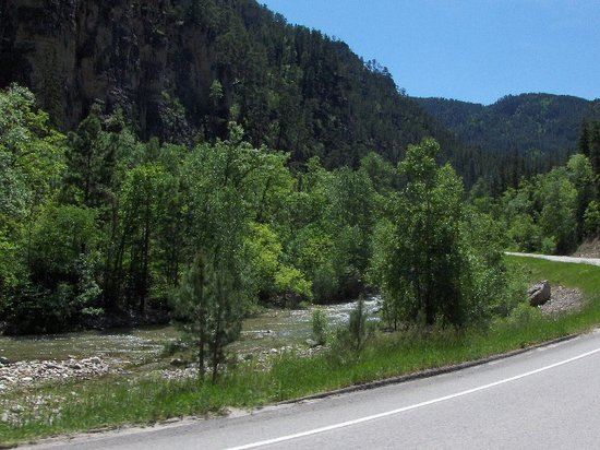 Spearfish, SD: Road winds through the Canyon along a small river