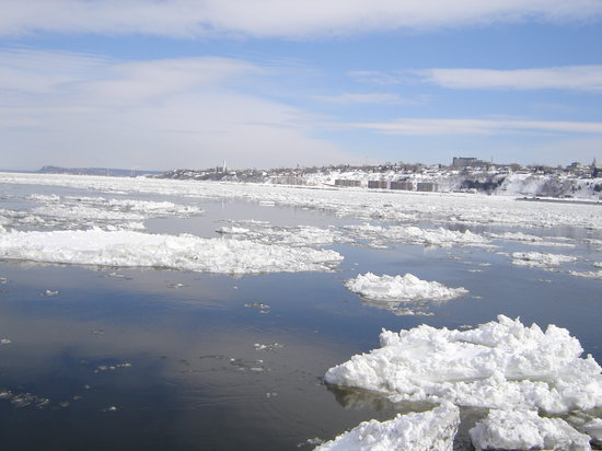Quebec City, Canada: Ice in the St. Lawrence River