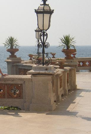 Castello di Miramare - Museo Storico: Wide balcony overlooks the sea at the front of the house.