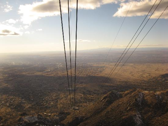 Sandia Peak Tramway: Lookin down the tramway on the way up