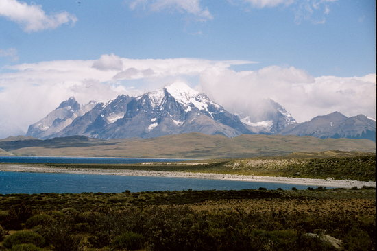 Torres del Paine National Park: The Paine massif as seen from the road, coming from El Calafate