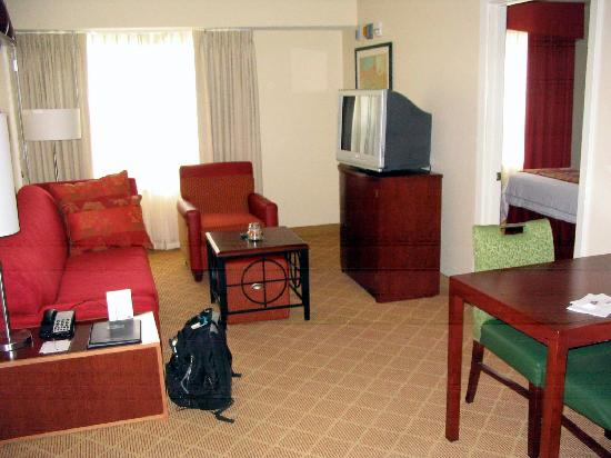 Living room in a 2 bedroom suite at residence inn - Hotels with 2 bedroom suites in boston ma ...