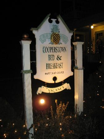 Cooperstown B and B: B&B sign