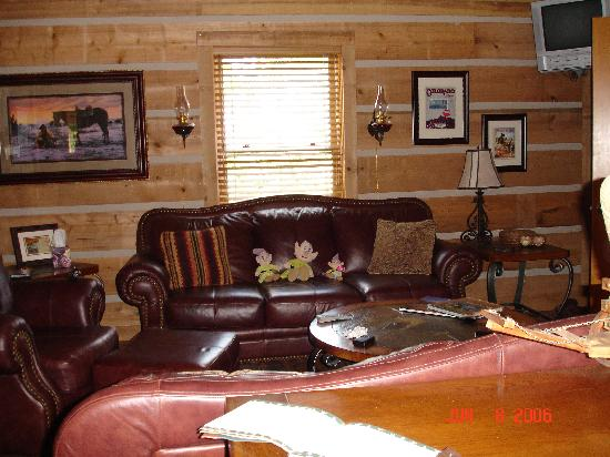 Roscoe Hillside Cabins: living room