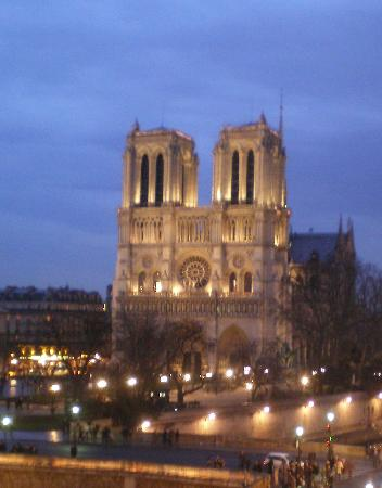 Les Rives De Notre Dame: This is a view from my room of NotreDame at night.
