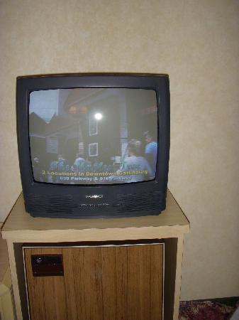 Park Tower Inn: small tv with terribly dark picture